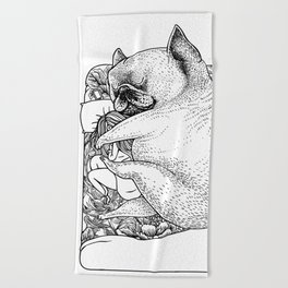 I'm Tired, You're a Lonely Frenchie Beach Towel
