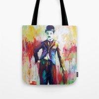 chaplin Tote Bags featuring Charlie Chaplin by Marta Zawadzka