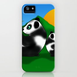Two pandas with bamboo at sunset iPhone Case