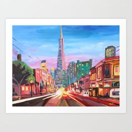 San Francisco - Columbus St. with Cafe Vesuvio Art Print