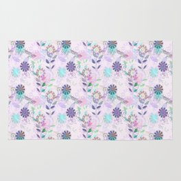 Pretty Purple Dragonfly and Floral Print Rug