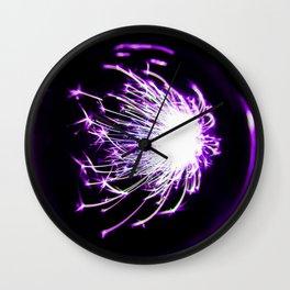 Purple Glitter Firework In Sphere Wall Clock