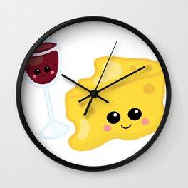 Kawaii Wine Kawaii Cheese Wine and Cheese Wall Clock