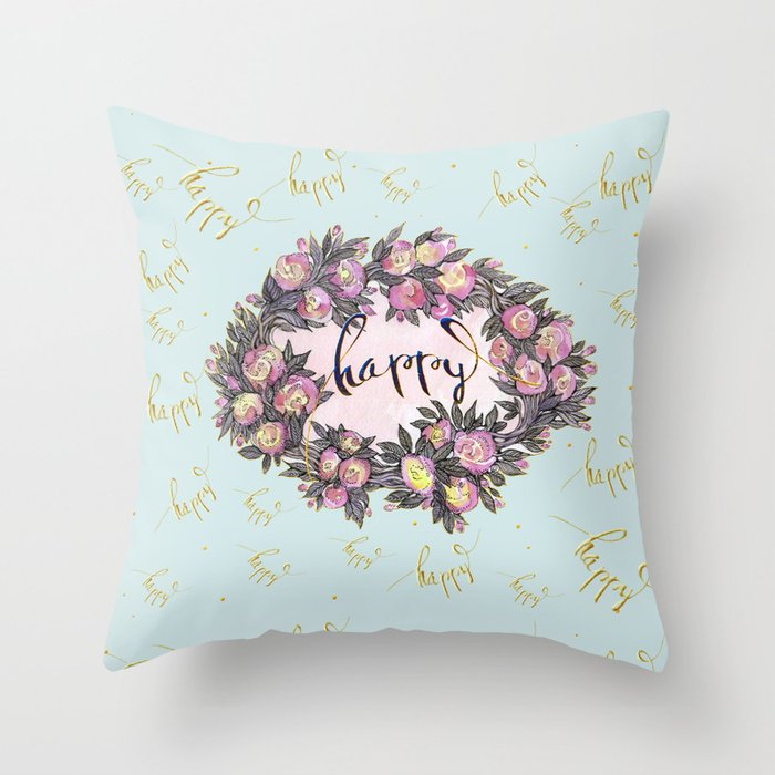 Happy flowers bridal pattern Throw Pillow