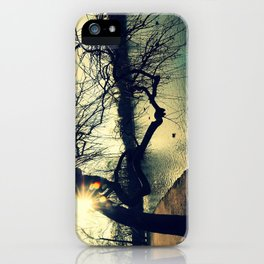Mysterious Light - Tree touching the water at lake iPhone Case