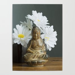 Buddha with Daisies Poster