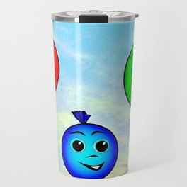 Happy colorful balloons flying in the sky Travel Mug