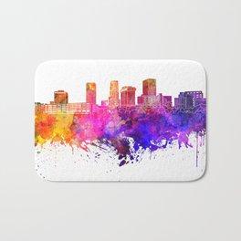 Akron skyline in watercolor background Bath Mat