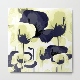 Dark Blue and Light Yellow Poppies On A White Background Fall Mood #decor #society6 #buyart Metal Print