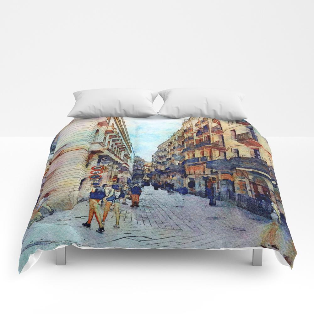 City Street 2, Barcelona, Spain Comforter by Ritarazzle CMF7602739