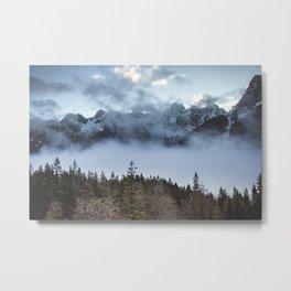 Alps in the Mist.    Winter Breeze.    Mountaineer.    Adventure.    Explore Slovenia. Metal Print