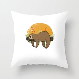 Jungle Nature Sloth Slow Animals Lazy Mammals Gift Cool Sleeping Sloth Throw Pillow