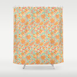 Video Game Controllers in Retro Colors Shower Curtain