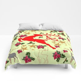DECORATIVE LEAPING RED DEER  & HOLY BERRIES CHRISTMAS  ART Comforters