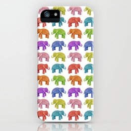 Colorful Parade of Elephants in Red, Orange, Yellow, Green, Blue, Purple and Pink iPhone Case