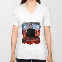 crowley V-neck T-shirts featuring Supernatural Crowley King of Hell S6 by Jamie Fontaine