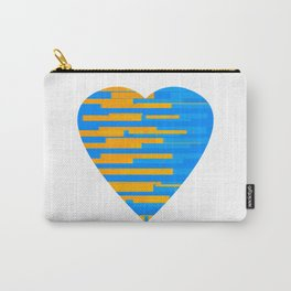 Glitching Hearts — Blue and Orange Carry-All Pouch
