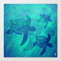 turtles Canvas Prints featuring Turtles by Inailau Hut
