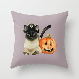 Halloween Siamese Cat with Jack O' Lantern Throw Pillow