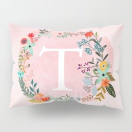 Flower Wreath with Personalized Monogram Initial Letter T on Pink Watercolor Paper Texture Artwork Pillow Sham