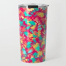 Scattered leaf pattern on Dark pink Travel Mug