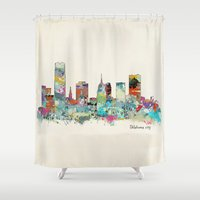 oklahoma Shower Curtains featuring Oklahoma City Oklahoma skyline by bri.buckley