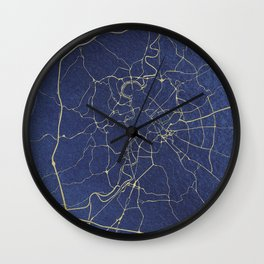 Rome Blue and Gold Street Map Wall Clock