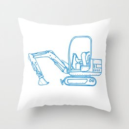 Mechanical Digger Mono Line Throw Pillow