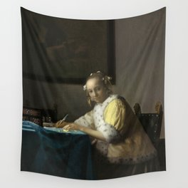 A Lady Writing Oil Painting by Johannes Vermeer Wall Tapestry