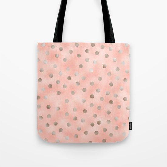 Rosy silver polka dots Tote Bag