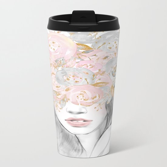 She Wore Flowers in Her Hair Rose Gold by Nature Magick Metal Travel Mug
