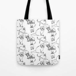 Minimal Black Line Cat Pattern Tote Bag
