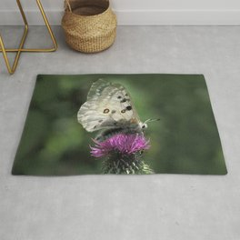 Butterfly on Thistle Flower Rug