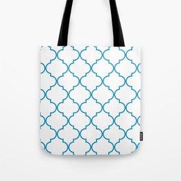Quatrefoil - Cerulean on White Tote Bag