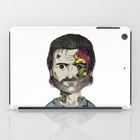 rick grimes iPad Cases featuring Rick Grimes The Walking Dead zombie portrait by Raul Garderes