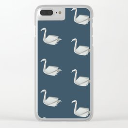 White & blue origami swan pattern Clear iPhone Case