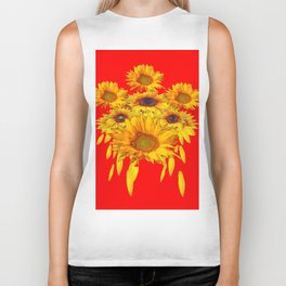 Decorative Red Sunflowers Art Abstract Biker Tank