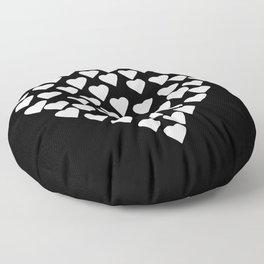 Hearts on Heart White on Black Floor Pillow