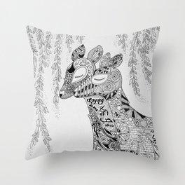 Dear Deer Love Story - Monochrome Throw Pillow
