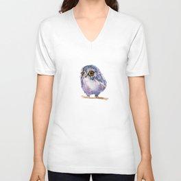 Watercolor Blue Fluff Owl Unisex V-Neck