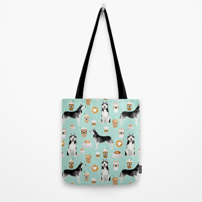 Husky coffee siberian husky owners gifts for dog person dog breed portraits by pet friendly Tote Bag
