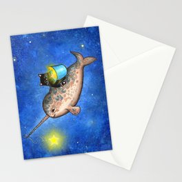 Hanging Stars with a Friendly Narwhal Stationery Cards