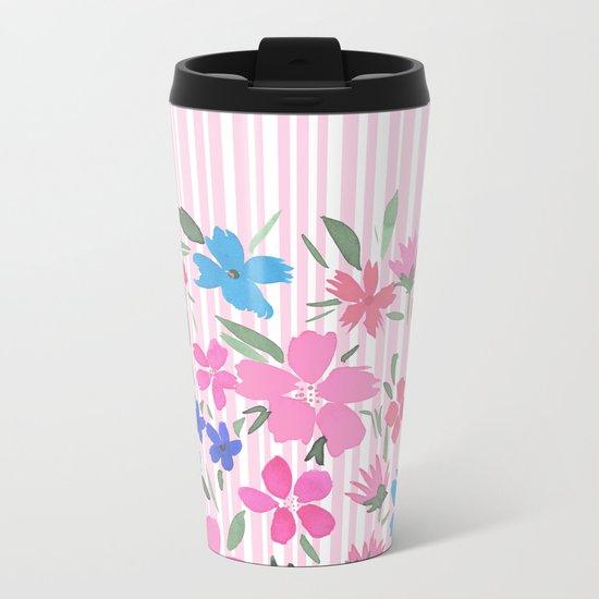 Floral Spring and Stripes Pink Metal Travel Mug