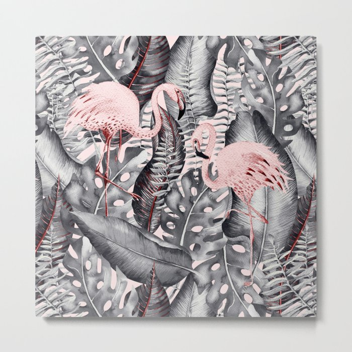 Flamingo Love- Watercolor Birds in Pink and Grey color on #Society6 Metal Print