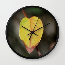 Red and Yelow Leaf Wall Clock