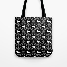 Corgi silhouette florals dog pattern black and white minimal corgis welsh corgi pattern Tote Bag