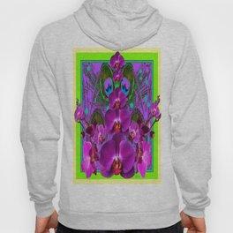 Fuchsia-Purple Orchids Green-Yellow Patterns Art  Hoody