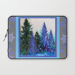 GREY WINTER SNOWFLAKE  CRYSTALS FOREST ART Laptop Sleeve