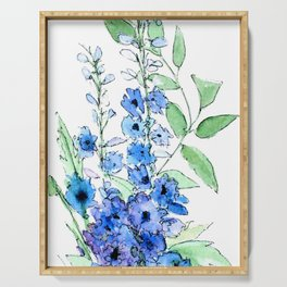 Delphinium Illustration Watercolor Painting Serving Tray