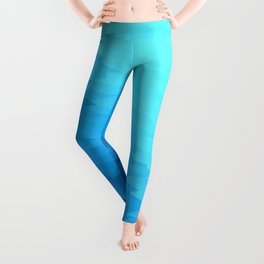 Turquoise Blue Texture Ombre Leggings